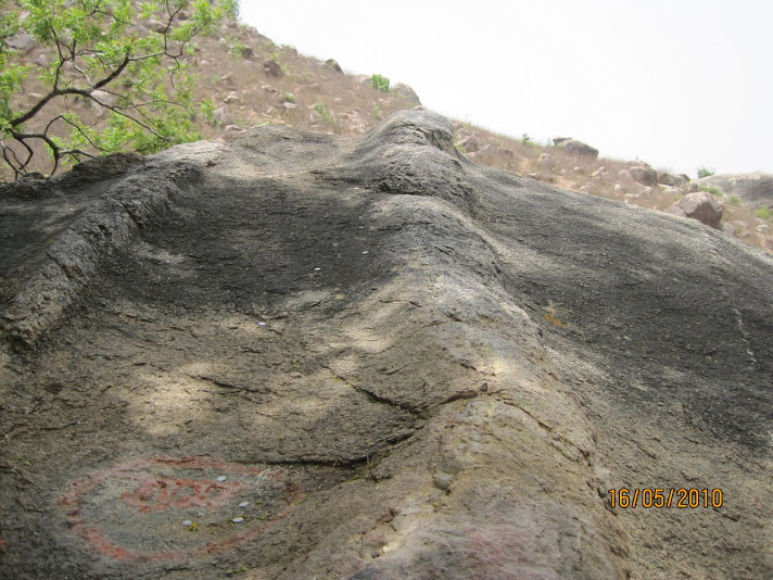rock on which Rama and Sita slept on the first night in Chitrakut