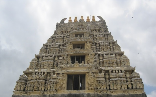 Closer view of the temple gopuram in Belur.