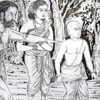 LORD ARRIVES IN THE GUISE OF HUNTER COUPLE  TO SAVE HIS ARDENT DEVOTEE  SWAMY RAMANUJA