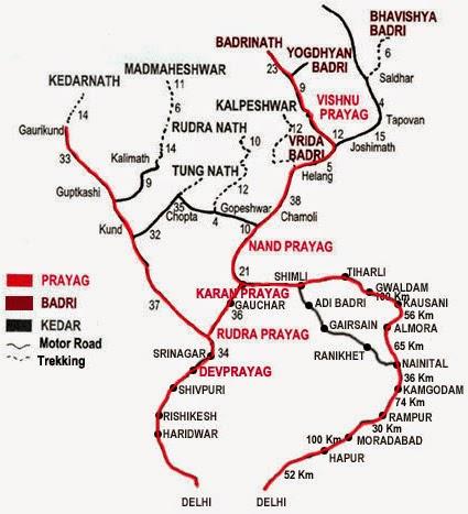 Sapta-Badri-Map