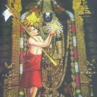 ".. The divine incident when Lord accepts the Shankhu and Chakra from his dear devotee Swamy Ramanuja ............ Thirumalai-Appanukku Sanku-Aazhi alhiththa Acharya-perumaan Emberumaanaar Jaya Vijayee bhava."""